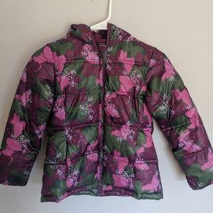 Girls size 6 fleece lined purple puffer coat